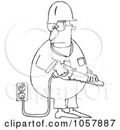 Royalty Free Vector Clip Art Illustration Of A Coloring Page Outline Of A Worker Man Holding A Power Saw