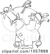 Royalty Free Vector Clip Art Illustration Of A Coloring Page Outline Of A Farmer Carrying A Cow