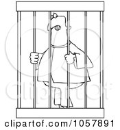 Royalty Free Vector Clip Art Illustration Of A Coloring Page Outline Of An Angry Prisoner Behind Bars by djart