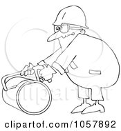 Royalty Free Vector Clip Art Illustration Of A Coloring Page Outline Of A Worker Man Using A Hacksaw To Cut A Pipe by djart