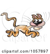 Royalty Free Vector Clip Art Illustration Of A Scared Cat Running by Zooco