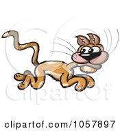 Royalty Free Vector Clip Art Illustration Of A Scared Cat Running