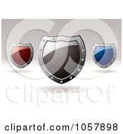 Royalty Free Vector Clip Art Illustration Of 3d Red Gray And Blue Shield Signs With Copyspace by michaeltravers