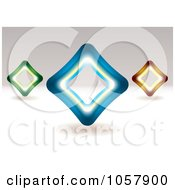 Royalty Free Vector Clip Art Illustration Of 3d Green Blue And Orange Diamond Signs by michaeltravers