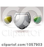 Royalty Free Vector Clip Art Illustration Of 3d Yellow Silver And Green Shield Signs With Copyspace by michaeltravers