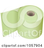 Royalty Free Vector Clip Art Illustration Of A 3d Roll Of Green Toilet Paper by michaeltravers