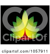 Royalty Free Vector Clip Art Illustration Of A Green And Red Leaf Icon On Black by michaeltravers