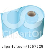 Royalty Free Vector Clip Art Illustration Of A 3d Roll Of Blue Toilet Paper by michaeltravers