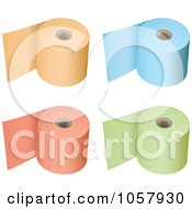Royalty Free Vector Clip Art Illustration Of A Digital Collage Of 3d Rolls Of Colored Toilet Paper by michaeltravers