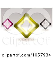 Royalty Free Vector Clip Art Illustration Of 3d Pink Yellow And Black Diamond Signs by michaeltravers
