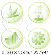 Digital Collage Of Green Leaf Tree And Floral Eco Icons