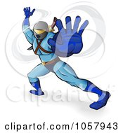 Royalty Free Vector Clip Art Illustration Of A Ninja In Blue Holding His Hand Out
