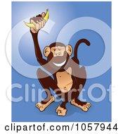 Happy Monkey Holding Up A Banana