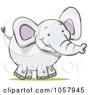 Royalty Free Vector Clip Art Illustration Of A Happy White Elephant by Qiun