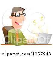 Royalty Free Vector Clip Art Illustration Of A Successful Businessman Using Internet Banking by Qiun