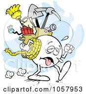 Royalty Free Vector Clip Art Illustration Of An Exhausted Trekking Moodie Character by Johnny Sajem