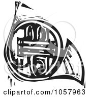 Royalty Free Vector Clip Art Illustration Of A Black And White Woodcut Styled French Horn