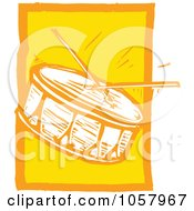 Royalty Free Vector Clip Art Illustration Of A Yellow Woodcut Styled Drum And Sticks by xunantunich