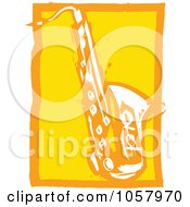 Royalty Free Vector Clip Art Illustration Of A Yellow Woodcut Styled Saxophone by xunantunich