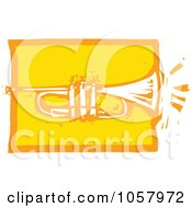Royalty Free Vector Clip Art Illustration Of A Yellow Woodcut Styled Trumpet by xunantunich