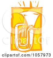 Royalty Free Vector Clip Art Illustration Of A Yellow Woodcut Styled Tuba by xunantunich
