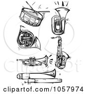 Royalty Free Vector Clip Art Illustration Of A Digital Collage Of Black And White Woodcut Styled Instruments by xunantunich
