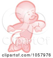 Royalty Free Vector Clip Art Illustration Of A Pink Baby Running In A Diaper