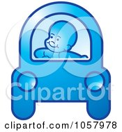 Royalty Free Vector Clip Art Illustration Of A Baby Driving A Blue Car