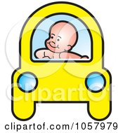 Royalty Free Vector Clip Art Illustration Of A Baby Driving A Yellow Car