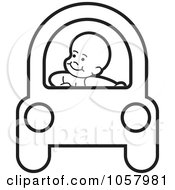 Royalty Free Vector Clip Art Illustration Of A Coloring Page Outline Of A Baby Driving A Car