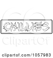 Royalty Free Vector Clip Art Illustration Of Outlined Peppers Spelling Out CHILLIES