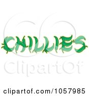 Royalty Free Vector Clip Art Illustration Of Green Peppers Spelling Out CHILLIES