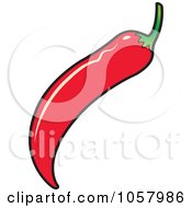 Royalty Free Vector Clip Art Illustration Of A Red Chili Pepper