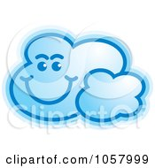 Royalty Free Vector Clip Art Illustration Of A Smiling Blue Cloud by Lal Perera