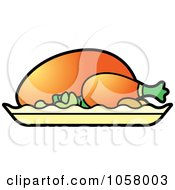 Royalty Free Vector Clip Art Illustration Of A Roasted Chicken by Lal Perera