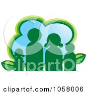 Royalty Free Vector Clip Art Illustration Of A Green Eco Family Icon