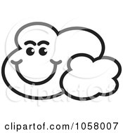 Royalty Free Vector Clip Art Illustration Of An Outlined Smiling Cloud by Lal Perera