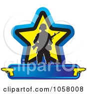 Royalty Free Vector Clip Art Illustration Of A Silhouetted Soldier With A Weapon Over A Star And Banner