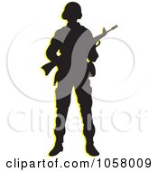 Royalty Free Vector Clip Art Illustration Of A Silhouetted Armed Soldier by Lal Perera #COLLC1058009-0106