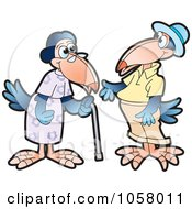 Royalty Free Vector Clip Art Illustration Of Two Old Crows by Lal Perera