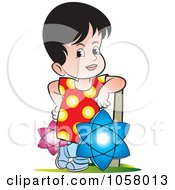 Royalty Free Vector Clip Art Illustration Of A Sri Lankan Kid With Vesak Lanterns by Lal Perera