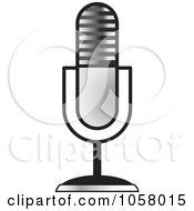 Royalty Free Vector Clip Art Illustration Of A Silver Desk Microphone by Lal Perera