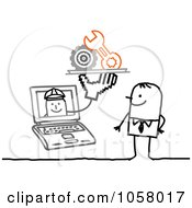 Royalty Free Vector Clip Art Illustration Of A Laptop Man Holding Mechanical Items Out To A Stick Man by NL shop