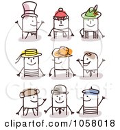Royalty Free Vector Clip Art Illustration Of A Digital Collage Of Stick Men Wearing Hats