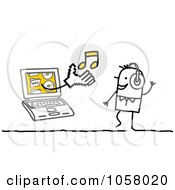 Royalty Free Vector Clip Art Illustration Of A Laptop Man Holding Music Out To A Stick Man by NL shop