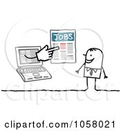 Royalty Free Vector Clip Art Illustration Of A Laptop Man Holding Job Listings Out To A Stick Man by NL shop