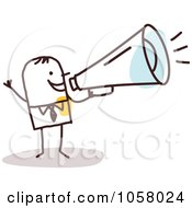 Royalty Free Vector Clip Art Illustration Of A Stick Businessman Announcing by NL shop #COLLC1058024-0109