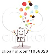 Royalty Free Vector Clip Art Illustration Of A Stick Businessman Tossing Confetti