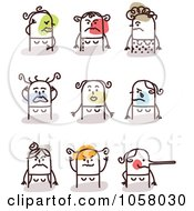 Royalty Free Vector Clip Art Illustration Of A Digital Collage Of Angry Stick Women by NL shop