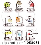 Royalty Free Vector Clip Art Illustration Of A Digital Collage Of Stick Men With Upset Expressions by NL shop